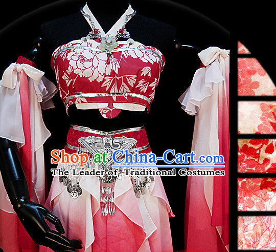 Ancient Chinese Princess Court Dresses Hanzhuang Han Fu Han Clothing Traditional Chinese Dress Hanfu National Costumes and Hair Jewelry Complete Set for Women or Girls