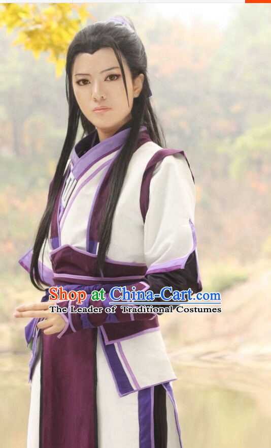 Ancient Chinese Style Halloween Costumes Cosplay Cos Fighter Knight Costume Complete Set for Men