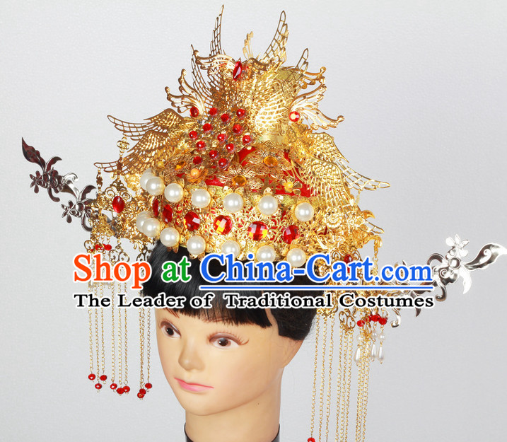 Supreme Handmade Chinese Ancient Imperial Palace Empress Wedding Phoenix Hat