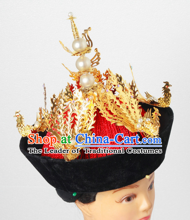 Handmade Qing Dynasty Chinese Empress Queen Imperial Phoenix Hat for Women