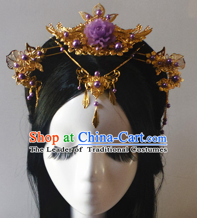 Chinese Classic Lady Fairy Headwear Crowns Hats Headpiece Hair Accessories Jewelry Set