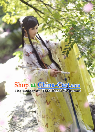 Top Chinese Ancient Princess Butterfly Costumes Theater and Reenactment Costumes and Headgear Complete Set for Women