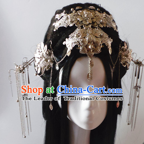 Silver Chinese Classical Fairy Headwear Crowns Hats Headpiece Hair Accessories Jewelry Set