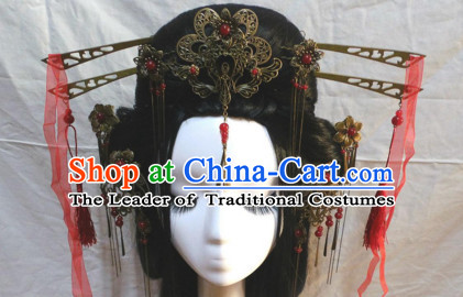 Brown Chinese Classical Fairy Long Wigs and Headwear Crowns Hats Headpiece Hair Accessories Jewelry Set