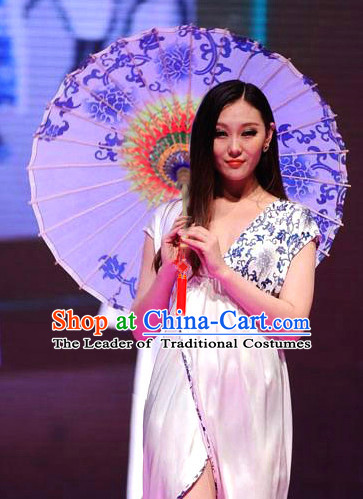 Asian Dance Umbrella Chinese Handmade Blue Flower Umbrellas Stage Performance Umbrella Dance Props
