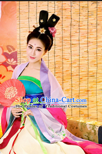 Ancient Chinese Clothing Imperial Dresses National Costume and Hairpins Complete Set for Women