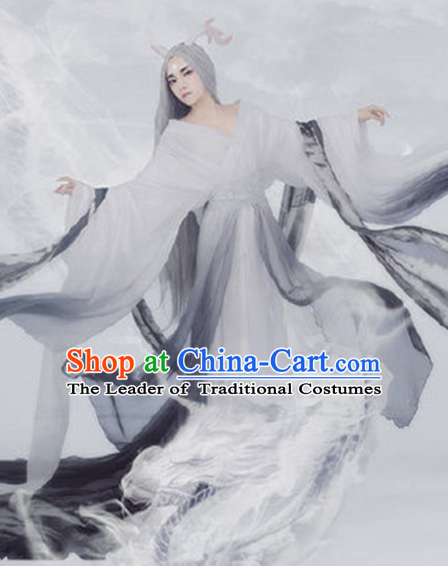 Traditional Chinese Women Fairy Clothing Dresses National Costume and Hair Ornaments Complete Set