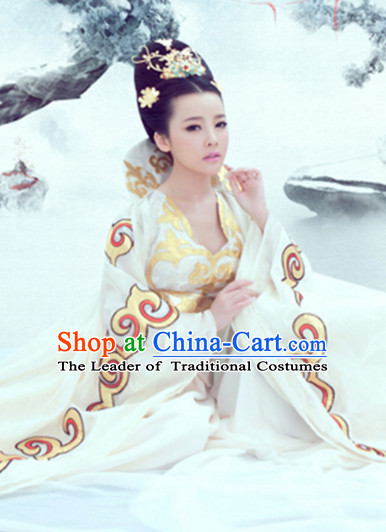 Traditional Chinese Women Empress Clothing Dresses National Costume and Hair Ornaments Complete Set