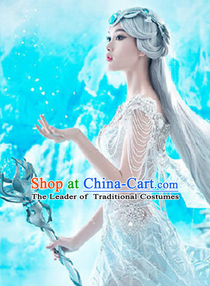 Chinese Fancy Cosplay Clothing Dresses and Hair Ornaments Complete Set