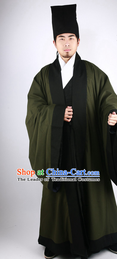 Chinese Scholar Ming Dynasty Han Fu Costumes Men Clothing Male Costume and Hat Complete Set