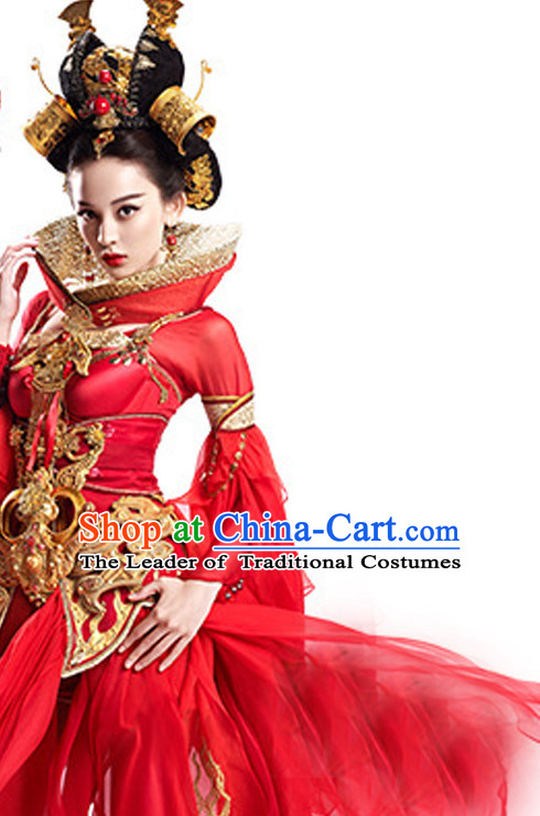 Traditional Chinese Princess Cosplay Costumes and Hair Ornaments Complete Set