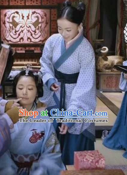 Traditional Chinese Palace Maid Hanfu Costumes and Hair Ornaments Complete Set