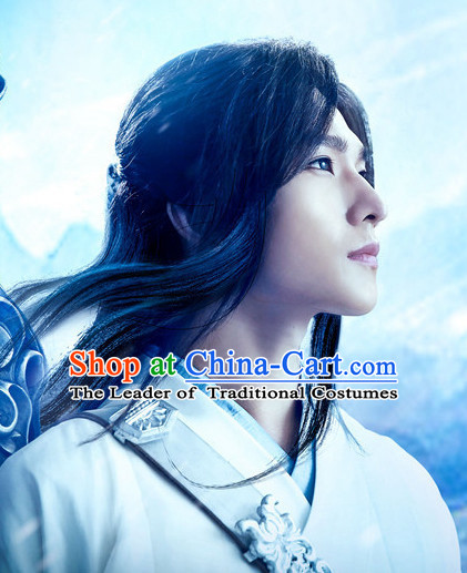China Ancient Black Long Wigs for Swordsman