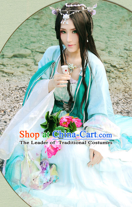 Green Chinese Princess Hanfu Robe Clothing Handmade Bjd Dress Opera Costume Drama Costumes Complete Set