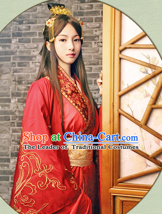 Chinese Red Hanfu Fairy Robe Clothing Handmade Bjd Dress Opera Costume Drama Costumes Complete Set