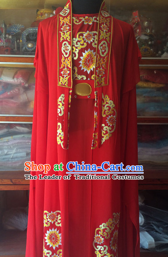 China Beijing Opera Men Wedding Dresses Embroidered Robe Stage Costumes Complete Set