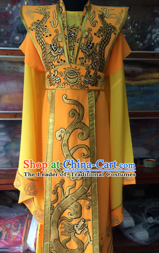 China Beijing Opera Men Emperor Dragon Costume Embroidered Robe Stage Costumes Complete Set