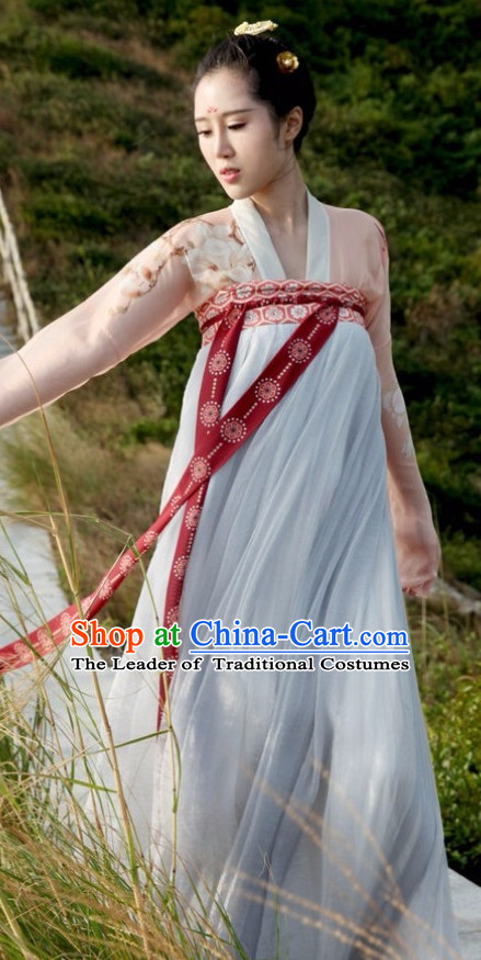 Chinese Ancient Tang Dynasty Ruqun Clothing Han Fu Suit Complete Set for Women