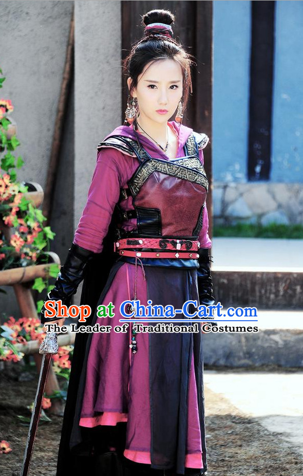 Chinese Ancient Swordswoman Costume Female Knight Costumes Complete Set