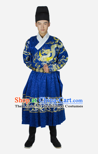 Chinese Traditional Ming Dynasty Men Bodyguard Stage Hanfu Hanbok Kimono Feitian Costume Dresses Costume Ancient Fairy Garment and Headpieces Complete Set