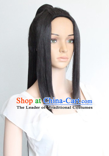 Chinese Ancient Style Long Black Hair Wig Hair Decoration Wigs Set