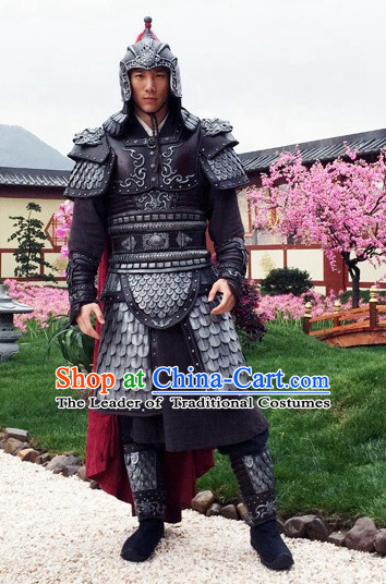 Chinese Traditional Men Body Armor Stage Hanfu Costume Dresses Costume Ancient Garment and Headpieces Complete Set
