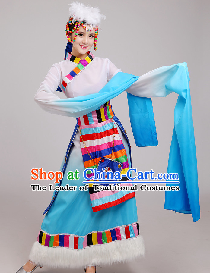 Chinese Folk Tibetan Dance Costume and Hat Complete Set for Women