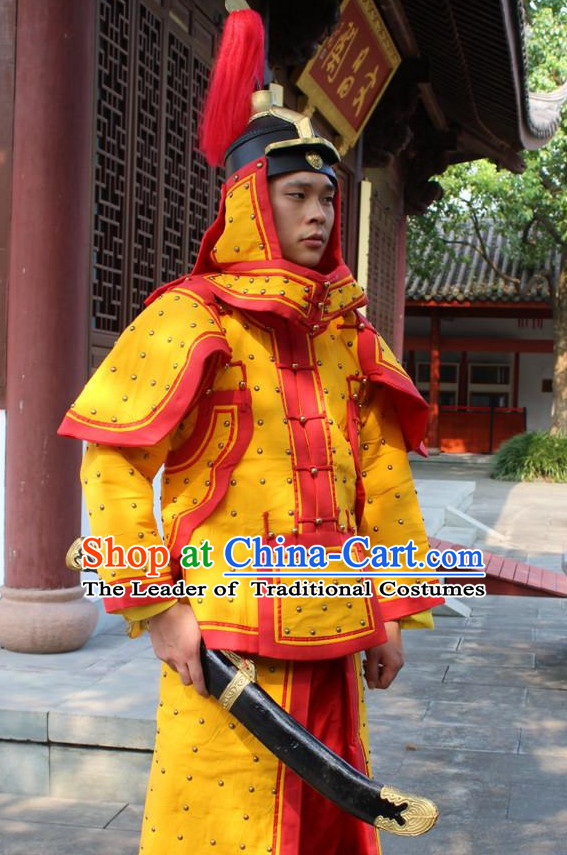 Red Yellow Chinese Qing Dynasty General White Armor Hanfu Dress Gown Costumes Ancient Costume Clothing Complete Set