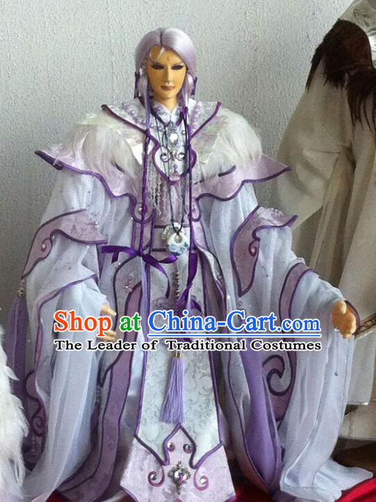 Chinese Ancient BJD Adult Size Costumes Dresses and Headwear Complete Set for Men
