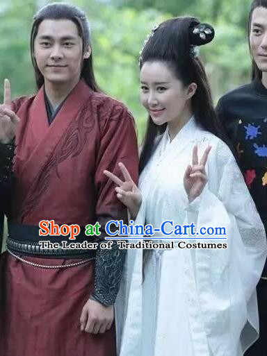 Chinese Ancient Swordsman Couple Costumes Dresses and Headpieces Complete Set for Men and Women