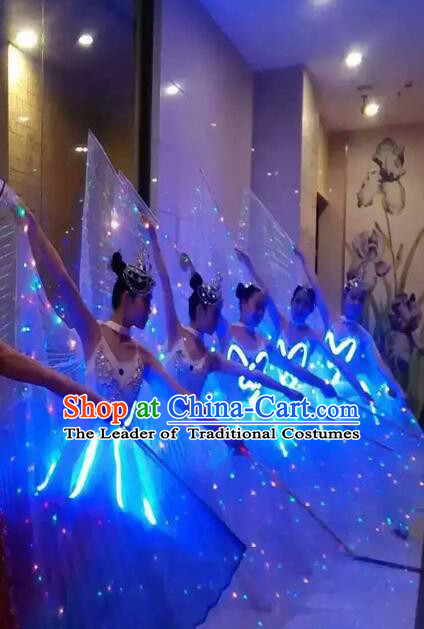 LED Lights Jelly Fish Dance Costumes Dancing Costume Complete Set for Women Girls