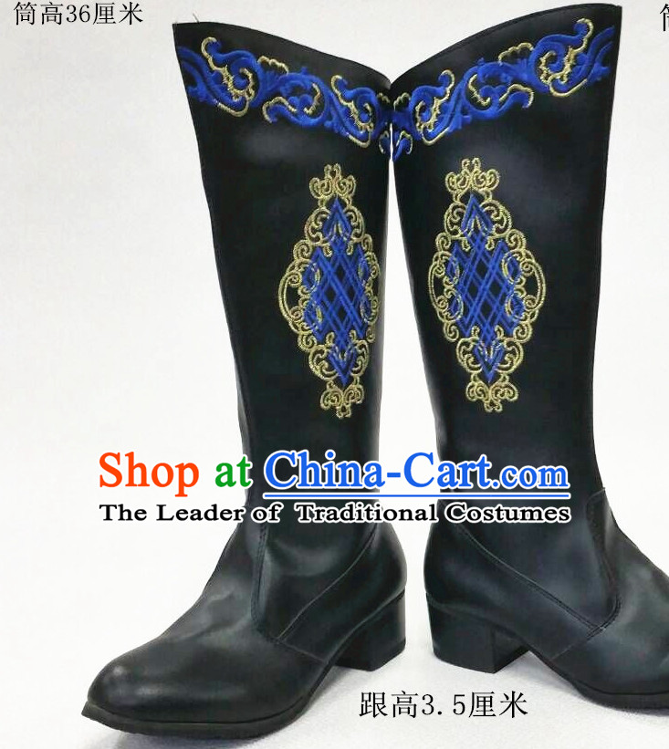 Top Chinese Mongolian Minority Mongol Boots Mongolia Minority Boot Ethnic Mongolian Feather Shoes
