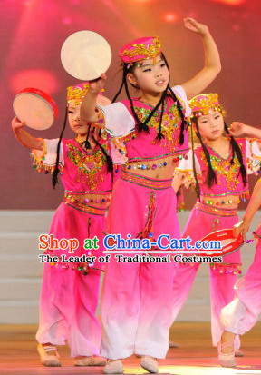 Chinese Xinjiang Minority Dance Costume Dance Costumes Fan Dance Umbrella Ribbon Fans Dance Fan Water Sleeve Costume for Women or Children