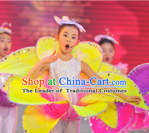 Chinese Stage Dance Costume Dance Costumes Fan Dance Umbrella Ribbon Fans Dance Fan Water Sleeve Costume for Women or Children