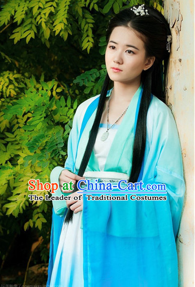 Blue Ancient Chinese Women Dresses Hanfu Girls China Classical Clothing Histroical Dress Traditional National Costume Complete Set