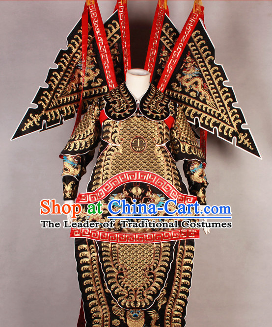 Black China Beijing Opera Chinese Peking Opera Costume Embroidered Robe Military General Opera Costumes Complete Set