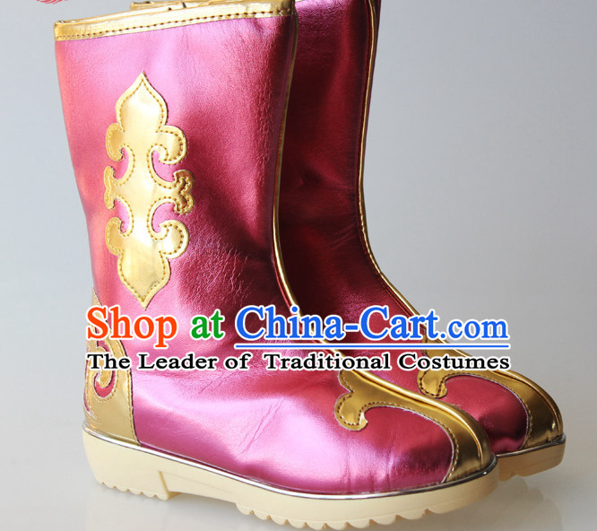 Chinese Handmade Mongolian Long Boots Minority Mongol Shoes Mongolia Boot