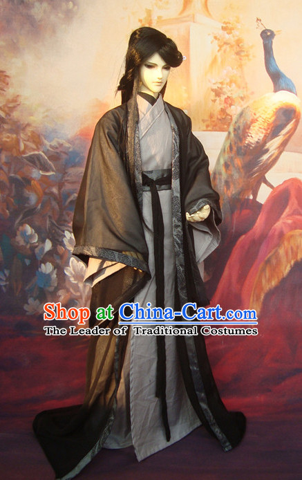 Ancient Chinese Scholar Grey Costumes Clothing Traditional Costumes Green Hanfu Complete Set