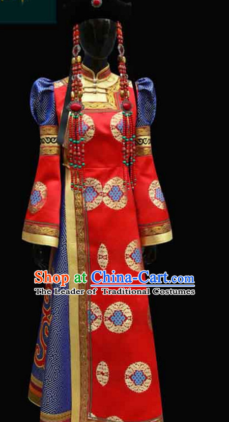 Red Mongolian Minority Empress Mongol Mongolia Princess Clothing Ethnic Traditional Costumes Complete Set