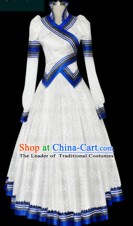 White Mongolian Minority Empress Mongol Mongolia Princess Clothing Ethnic Traditional Costumes Complete Set
