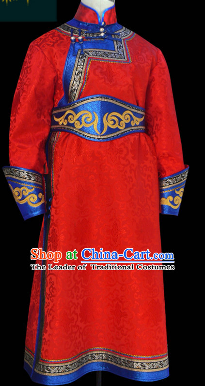 Mongolian Minority Emperor Mongol Mongolia Prince Clothing Ethnic Traditional Costumes Complete Set