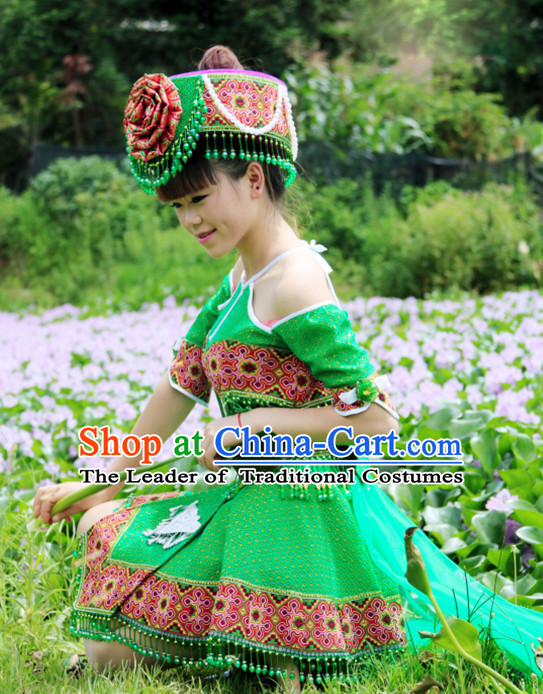 Hmong Women Minority Dresses Miao Girls Clothing Ethnic Miao Minority Dance Costume Minority Dress Dance Miao Costumes and Hat Complete Set