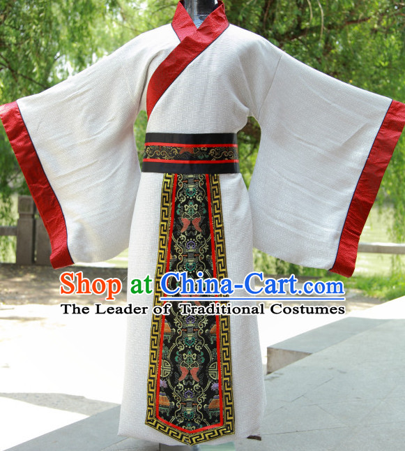 Ancient Chinese Han Dynasty Hanfu Costumes Complete Set for Men