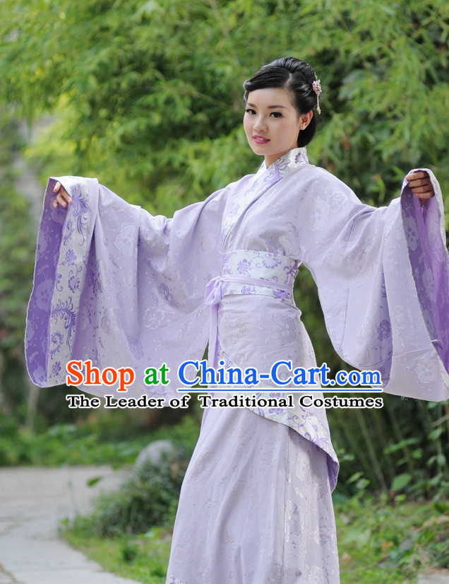 Purple Ancient Chinese Han Dynasty Dresses Hanfu Wedding Dress Hanbok Kimono Complete Set for Women