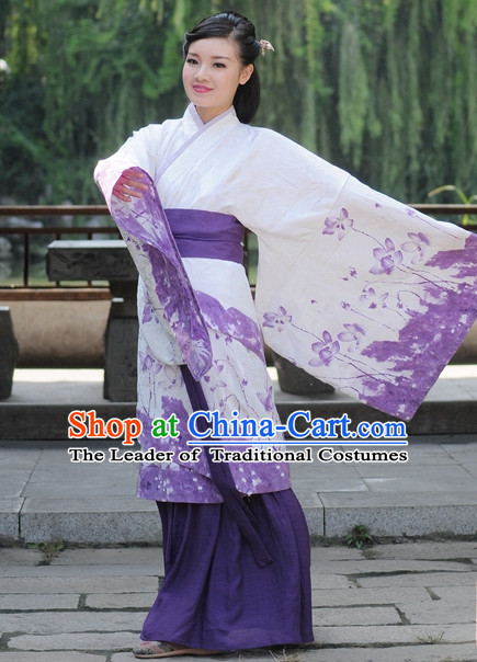 Ancient Chinese Han Dynasty Dresses Hanfu Quju Clothing Hanbok Kimono Complete Set for Women