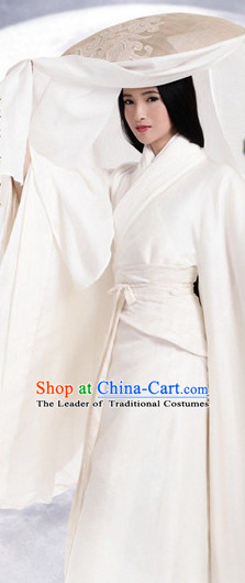Pure White Ancient Chinese Aristocrat Clothing and Bamboo Hat Complete Set for Women Girls
