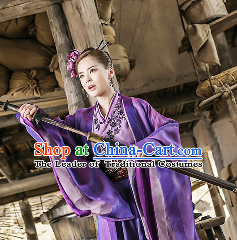 Chinese Ancient Swordswoman Clothing Costumes Complete Set for Women
