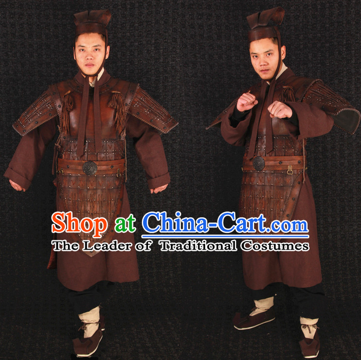 China Ancient Qin Dynasty Terra Cotta Warriror Hero Armor Costume and Tiger Helmet Complete Set for Men or Boys