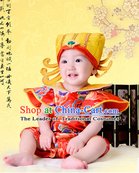 Chinese Happy New Year Cute Baby Cai Shen Infant Official Costumes and Hat Complete Set