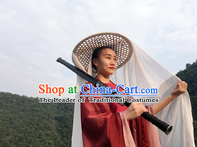 Traditional Chinese Acient Swordswoman Hats, Swordswomen Mask Veil Headwear, Bamboo Hat for Women